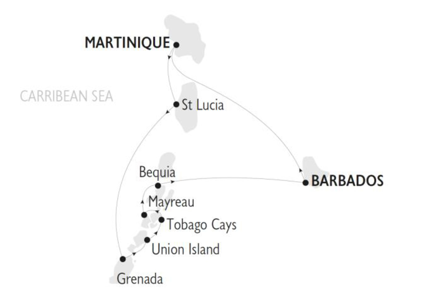 Mapa Barbados y las Granadinas